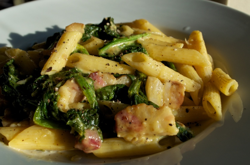 10.16.11_Penne Carbonara with Mustard greens