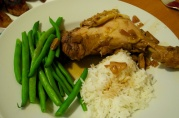 Oct 19, 2012. Chicken adobo, green beans, rice.
