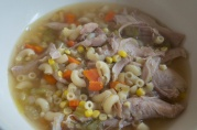 "October 23, 2012. What my mom used to call ""refrigerator soup"" - chicken, macaroni and other veg you have lying around."