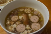 November 10, 2012. Sausage and bean soup with unappetizing experiments of fat.