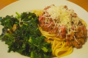 December 10, 2012. Fettucine Ragu with Sauteed Kale.