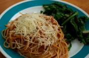 December 12, 2012. Linguine Ragu with Sauteed Kale.