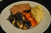 March 30, 2012. Meatloaf, Roasted Brussel Sprouts, Glazed Carrots, Mashed Potatoes.