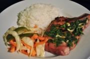 March 5, 2012. Smoked Pork chop, achara, rice.