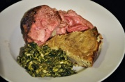 April 8, 2012. Easter Dinner: Roast lamb, potato kugel, creamed spinach. Yeah, the lamb was a little underdone, but great for leftovers.