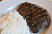 May 27, 2012. Grilled Rib-Eye and Rice.