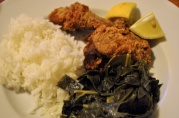June 21, 2012. Fried Chicken, Collard Greens, and Rice. A typical Southern/Filipino meal in our house.