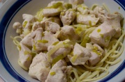July 2, 2012. Poached Chicken with leeks and lemon spaghetti.