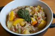 July 3, 2012. Soupe au Pistou: like Minestrone with summer vegetables, kidney beans, orzo, a dollop of pistou (like pesto) on top.