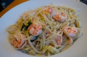 September 12, 2012. Poached shrimp with lemon spaghetti.