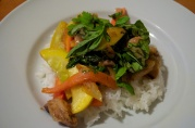 September 8, 2012. Filipino marinated pork (a la Pork BBQ), and summer vegetable stir fry.