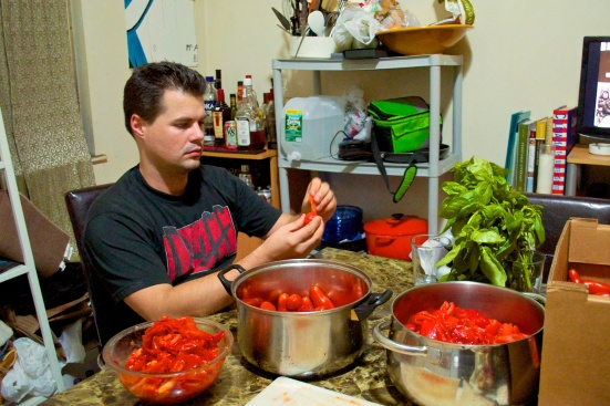Curtis peeling blanched tomatoes